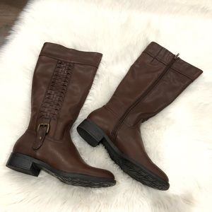 93ee8bef4a42 NWT Faux Leather Brown Riding Knee High Boots 8.5